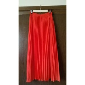 ASOS Bright Coral Red Pleated Maxi Skirt